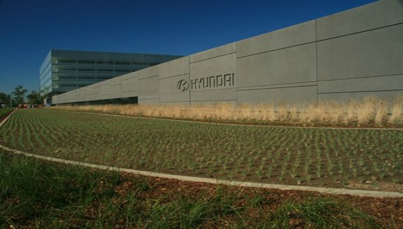 Partially Concealed Grasscrete System installed at Hyundai Motor America US Headquarters in Fountain Valley, California.