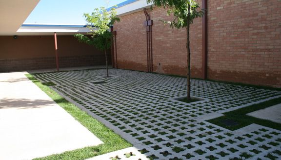 Stone Filled Grasscrete System installed at St Mikes School for runoff and water management.