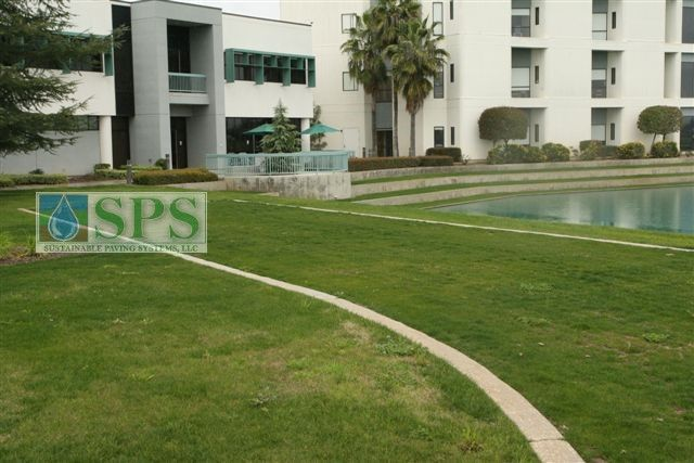 Concealed Grasscrete was installed here to provide emergency access to an area that is difficult to reach and a stunning, seamless transition was created between the landscape surfaces for an area that is aesthetically pleasing.