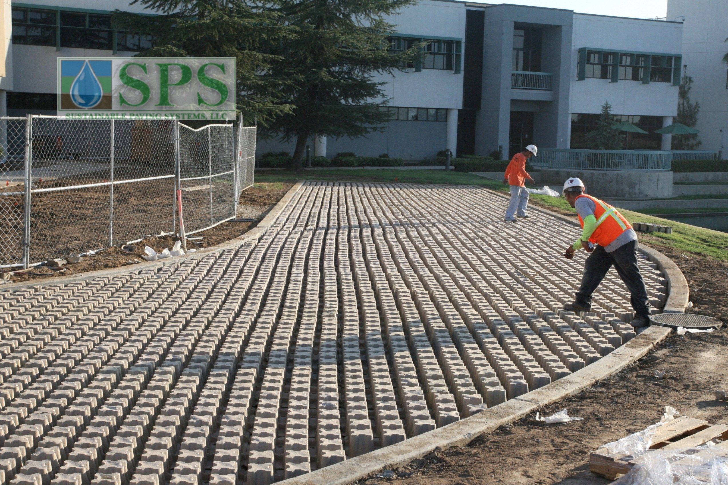 Molded Pulp Formers were installed here with rebar for reinforcement, concrete to create the pavement surface, and grass fill in the removed former tops to create a sustainable and durable Grasscrete emergency vehicle access road.