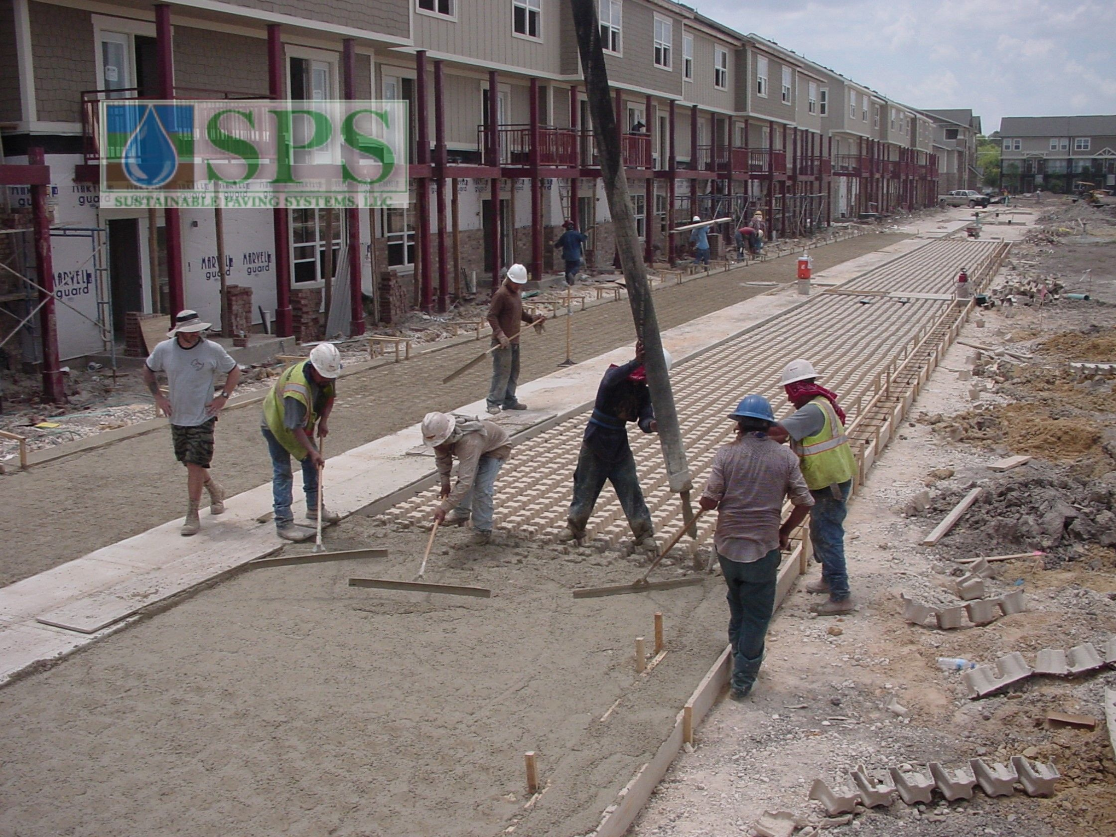 Grasscrete Concealed System At Woodlands At College Station View Of Firelane Concrete Pour_6