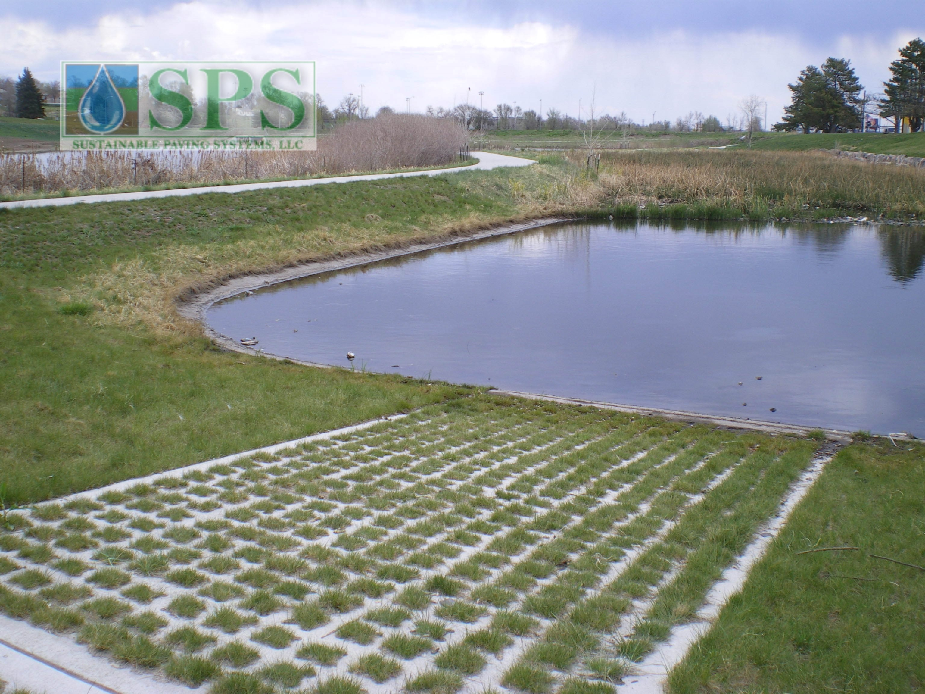 This Grasscrete system allows for flexibility where a structured paving surface is necessary but without compromising the visual appeal of the exterior landscape, and because the concrete system is pervious, the need to control storm water runoff is greatly reduced.