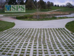 Close up of Barnum Park in Denver, CO with Grasscrete Partially Concealed System installed for Maintenance Vehicle Access.