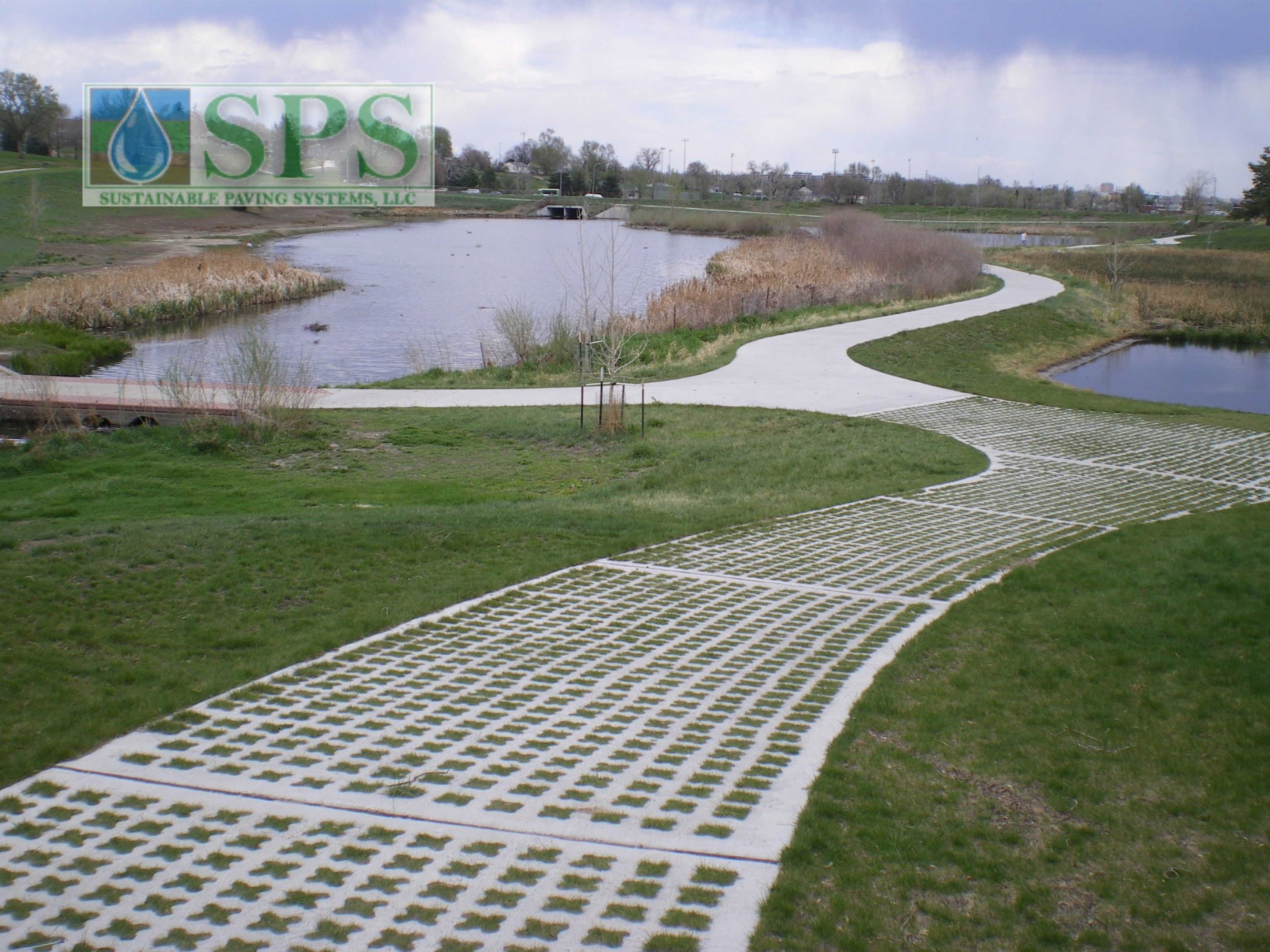 Featured here is Grasscrete, a pervious, grassed pavement system that was chosen for this site to provide stability to the area, while maintaining function, and preserving the scenic landscape.