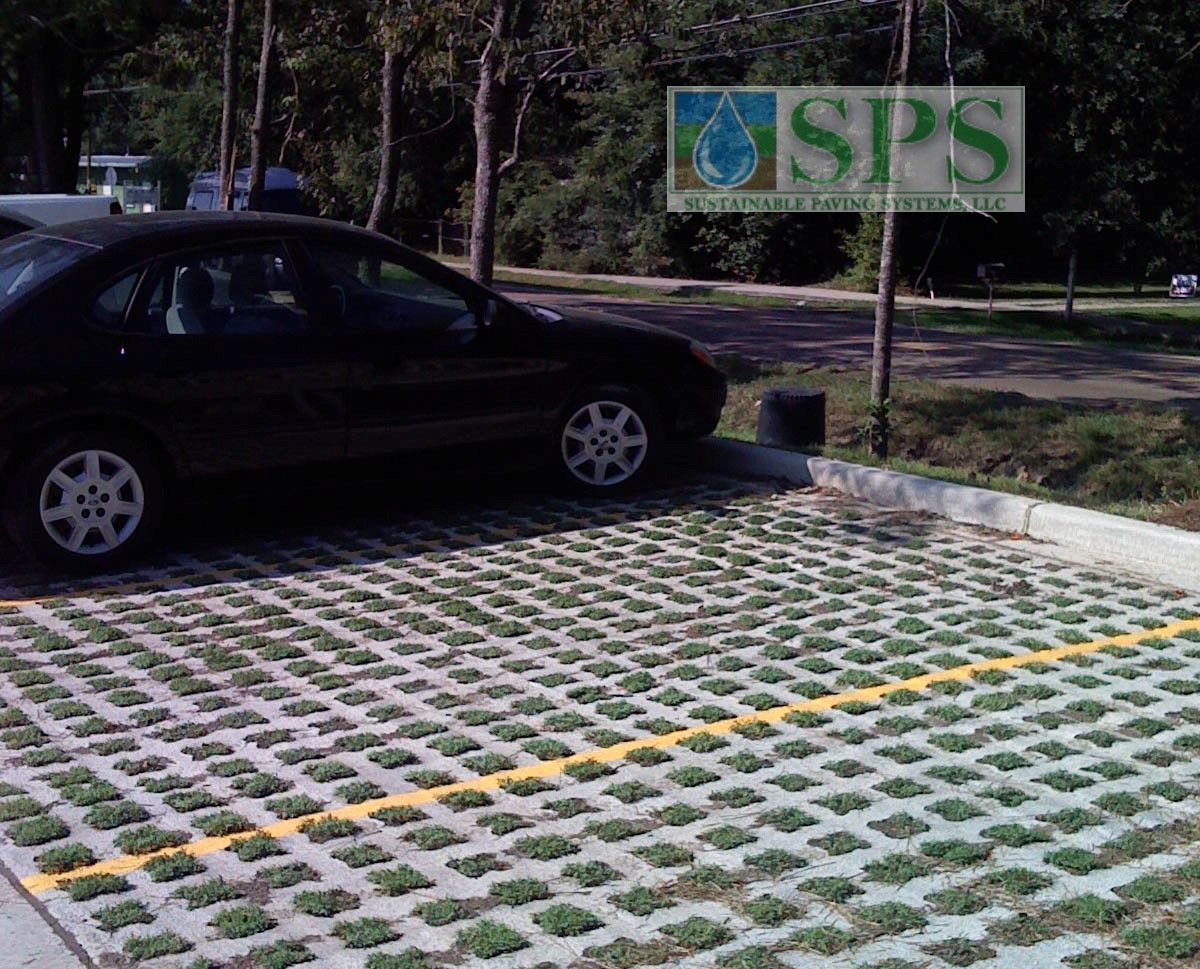 Grasscrete was selected for this project as an environmentally friendly and highly sustainable paving option because of its ability to manage storm water runoff, reduce heat island effect, and because of the recycled content used in the application process.