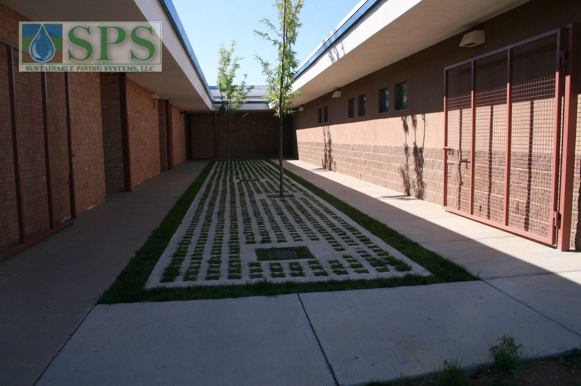 Grasscrete Partially Concealed System At St Mikes School View Of Courtyard Storm Water Management_01
