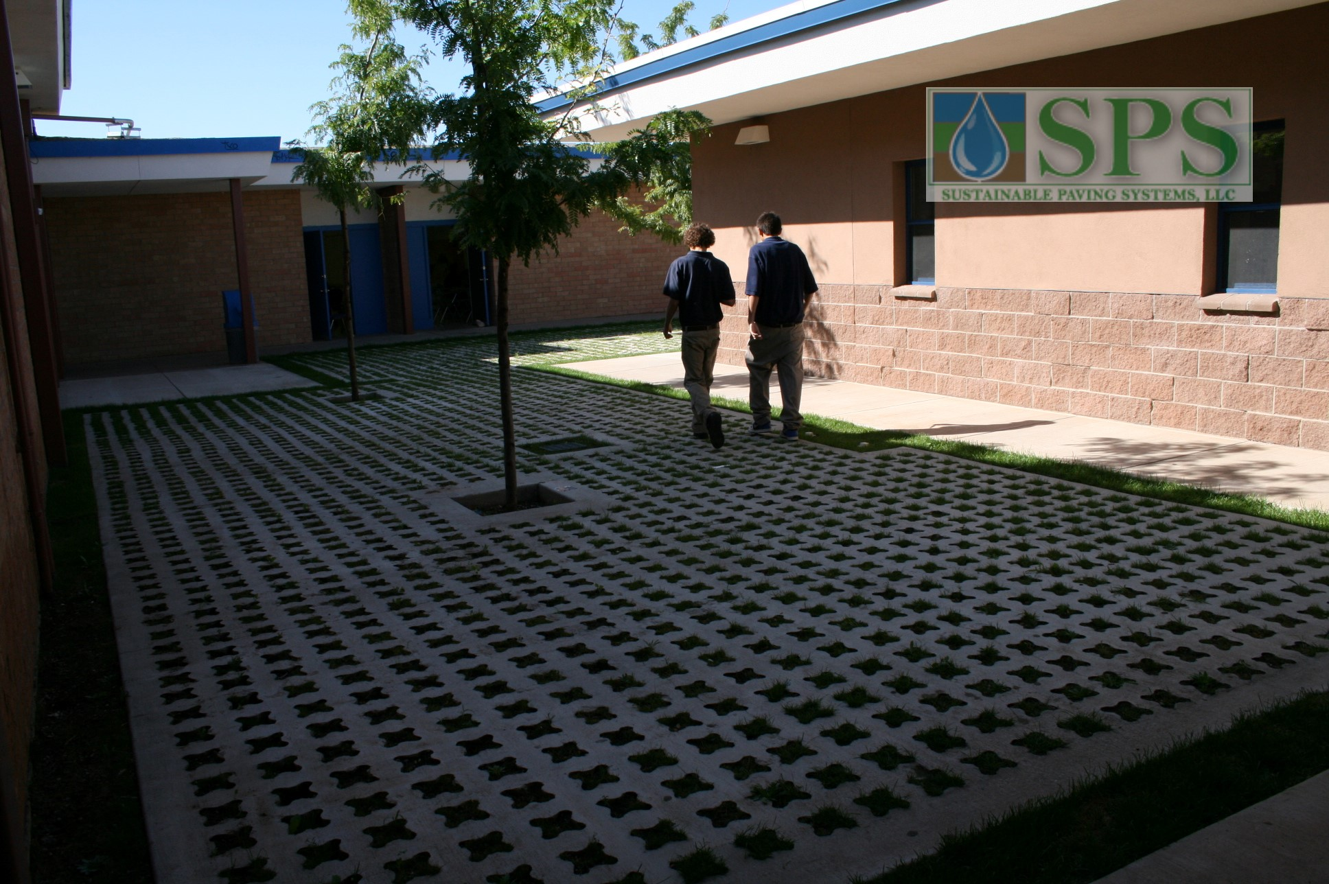 Grasscrete Partially Concealed System At St Mikes School View Of Courtyard Storm Water Management_04