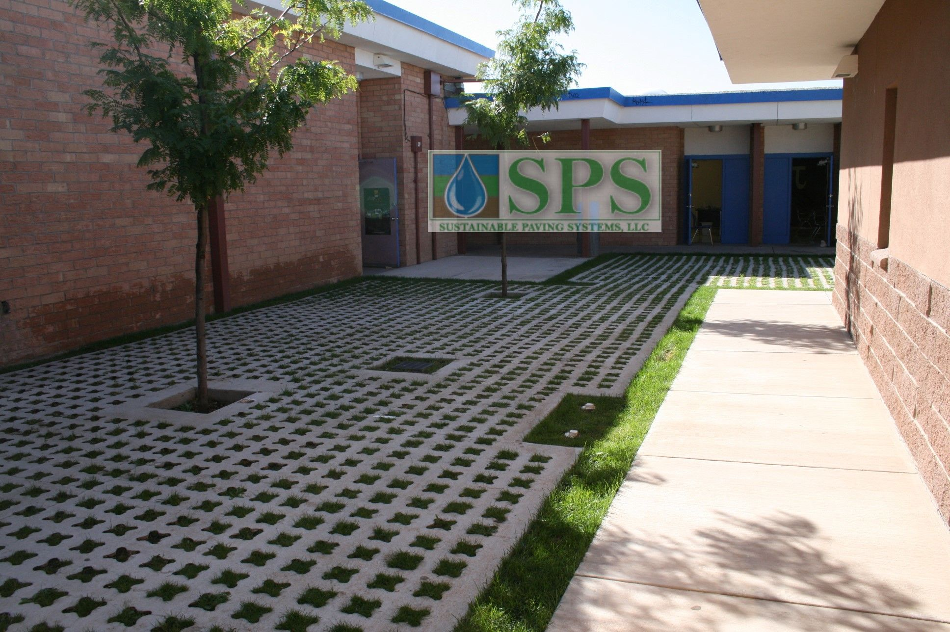 Grasscrete Partially Concealed System At St Mikes School View Of Courtyard Storm Water Management_05