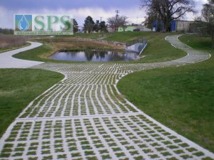 Barnum Park in Denver, CO with Grasscrete Partially Concealed System installed for Maintenance Vehicle Access.