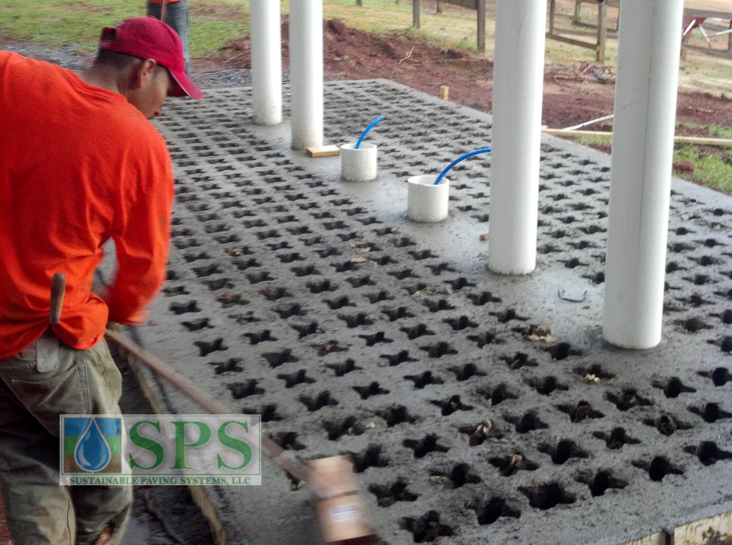 This Grasscrete base provides a positive drainage solution for this rinse station and can withstand almost non-stop water during each week at this camp.