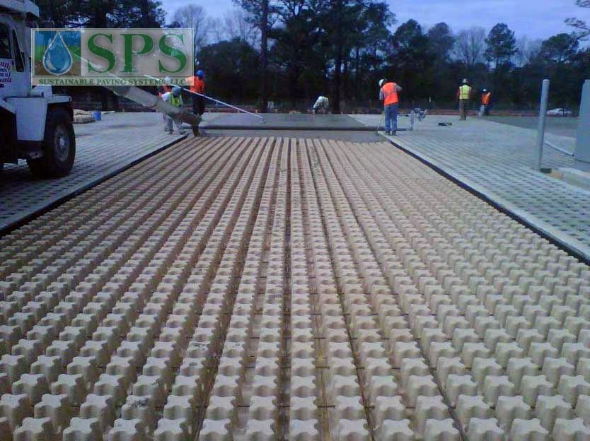 Grasscrete Stone Filled System At Fort Bragg Battle Command Training Center View Of Concrete Pour_2