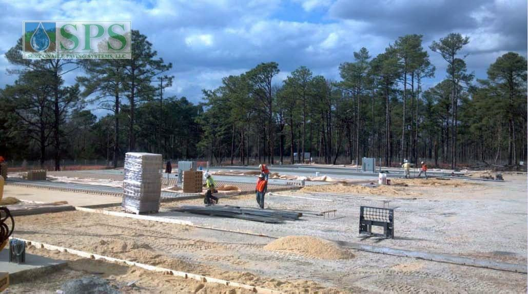 Grasscrete Stone Filled System At Fort Bragg Battle Command Training Center View Of Concrete Prep Work_1
