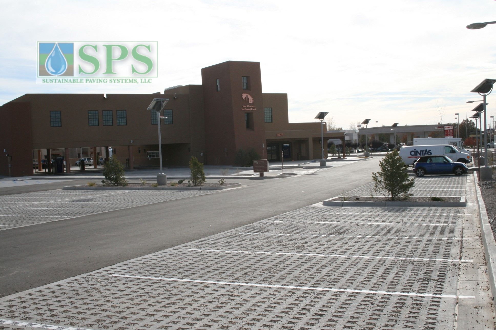 Grasscrete Stone Filled System At Los Alamos National Bank View Of Parking Lot_01