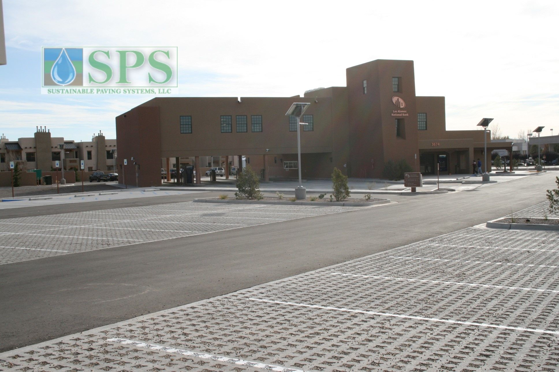 Grasscrete Stone Filled System At Los Alamos National Bank View Of Parking Lot_02