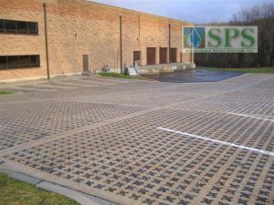 Grasscrete Stone Filled System At Plum Way II Commercial Building in Lake Carmel, NY, with a View Of Storm Water Containment.