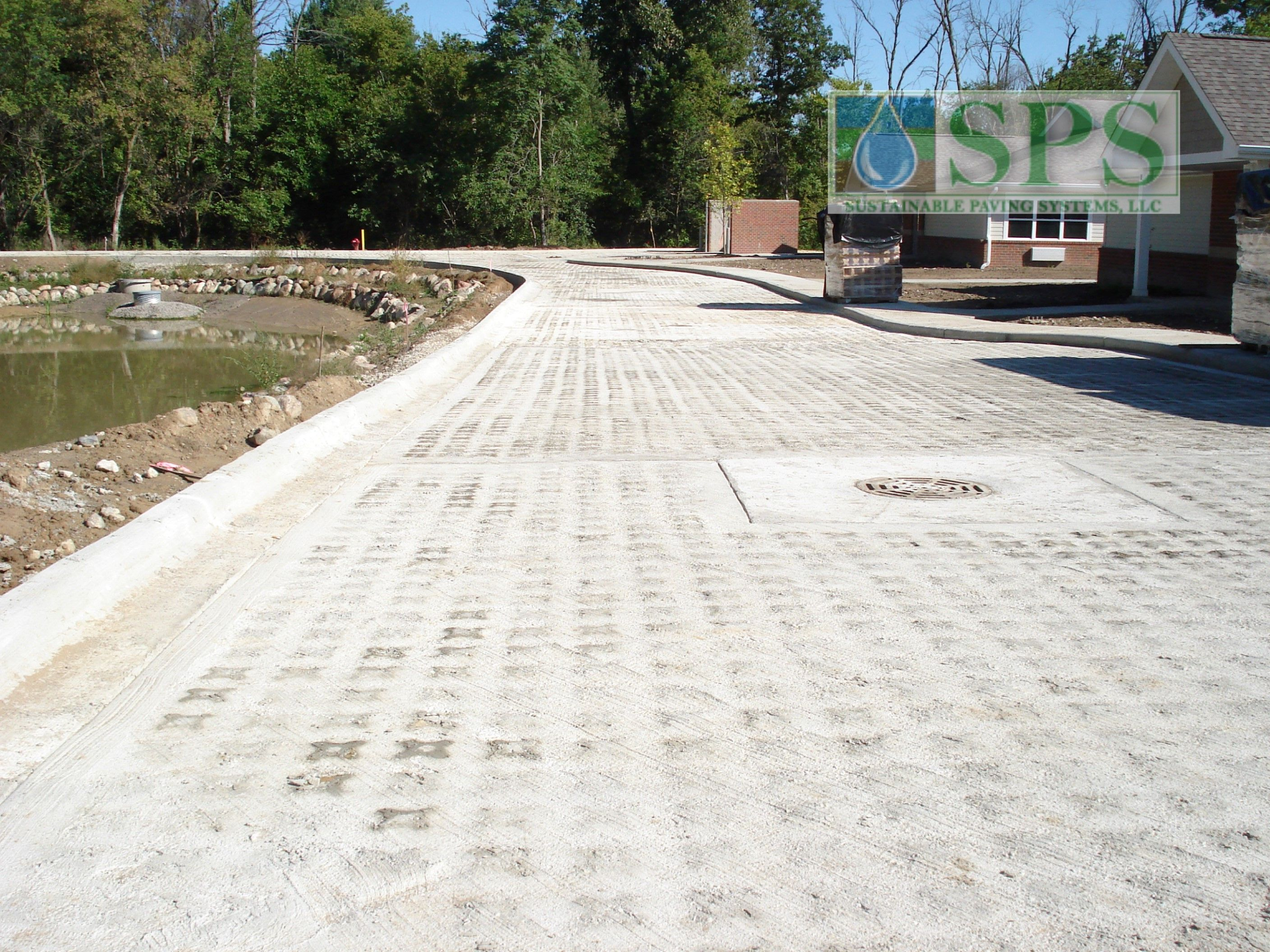 Regency Skilled Nursing Center in Canton Township, Michigan, an installation of Grasscrete Stone Filled Pervious Concrete handles the freeze-thaw nature of the rough cold climate.