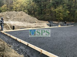 Grasscrete Pervious Concrete installation subbase prep work to ensure storm water management characteristics of Grasscrete.
