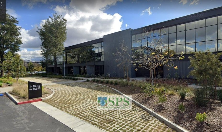Emergency Vehicle Access is beautifully achieved with Sustainable Paving Systems Grasscrete Partially Concealed Pervious Concrete Systems at this office complex in Irvine, CA, installed by Bomanite Licensee, TB Pennick & Sons.