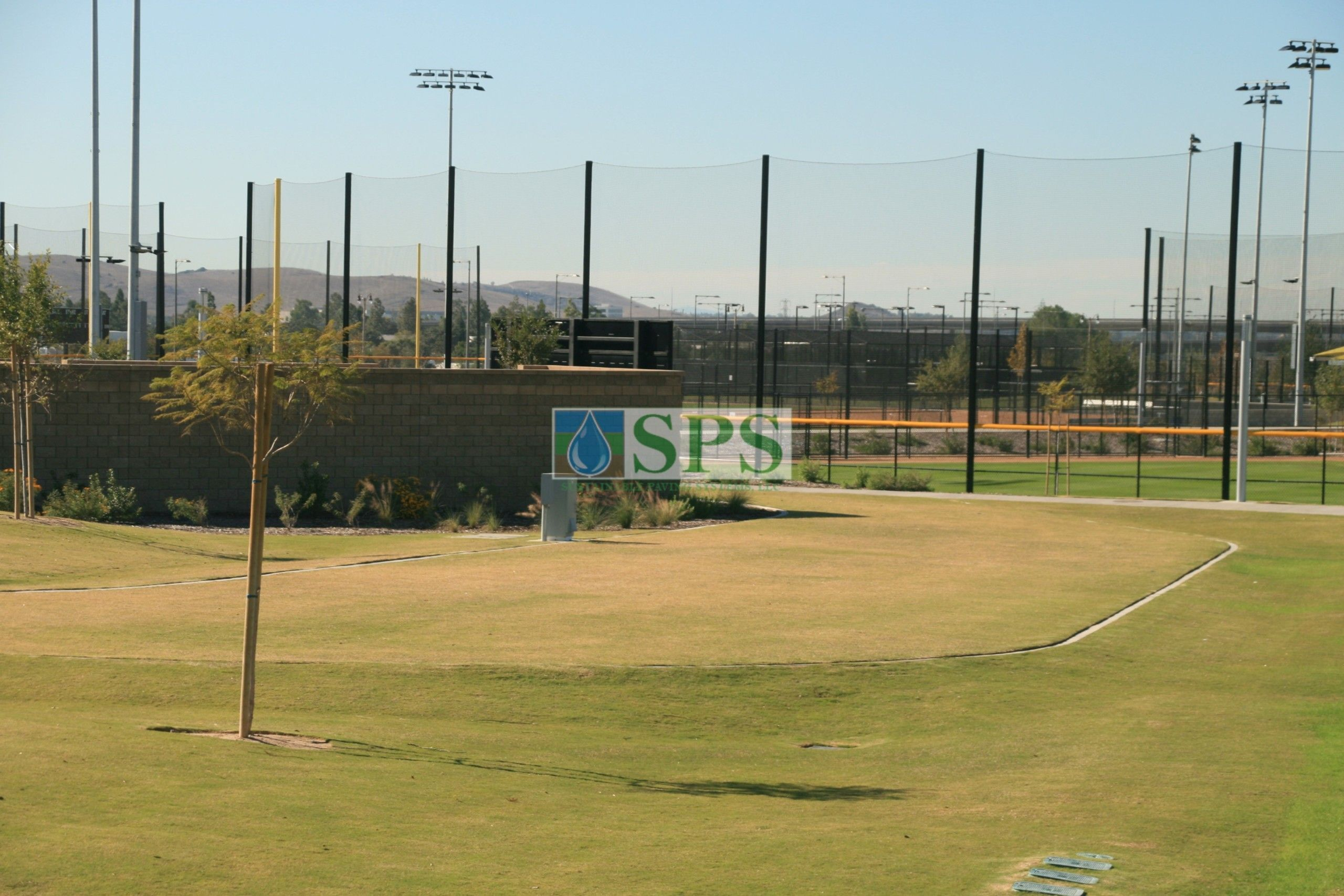 Grasscrete Fully Concealed installation at Orange County Great Park in Irvine, CA with a wide angle view of the park and the Emergency Access Road which meets state stormwater retention requirements.