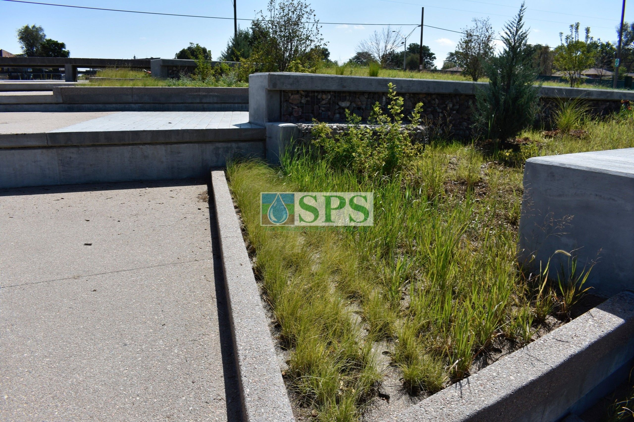 Close up of gabion tiered drop structure detention pond located in Denver, CO that was planted with varying grasses for greenspace and stormwater management using Sustainable Paving Systems Partial Grasscrete System installation of a pervious monolithic cast-in-place concrete.