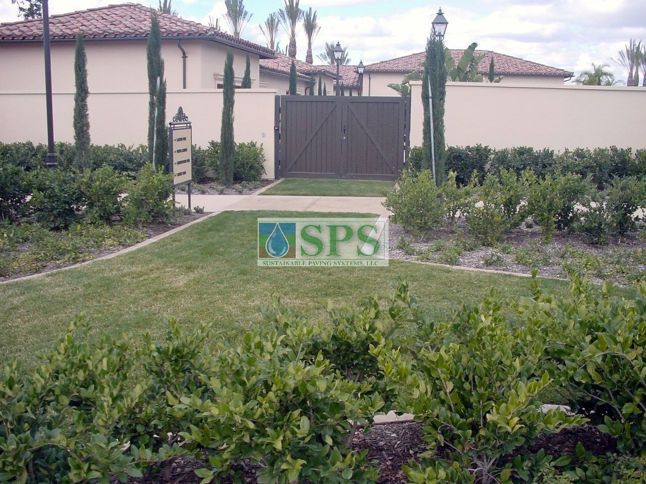 Emergency Vehicle Access using Concealed Grasscrete Systems without compromising the landscaping installed at Woodbury Community Development in Irvine, CA.
