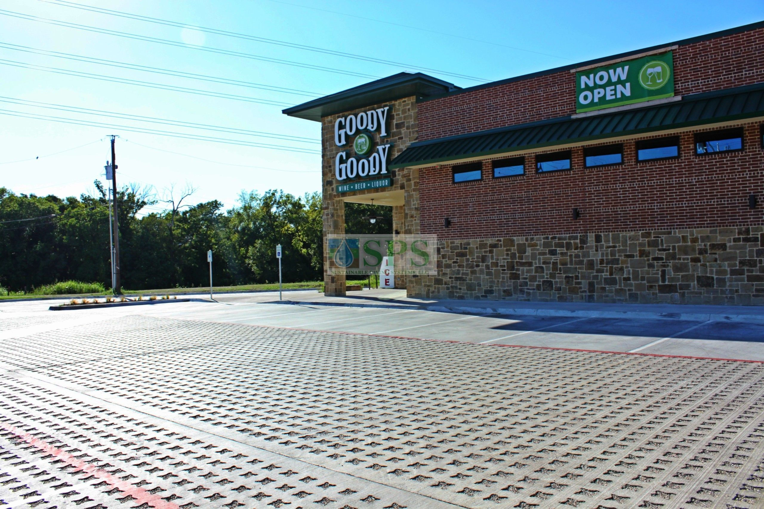 Goody Goody Liquor in Dallas, TX, featuring Grasscrete Stone Filled Systems installed by Texas Bomanite.