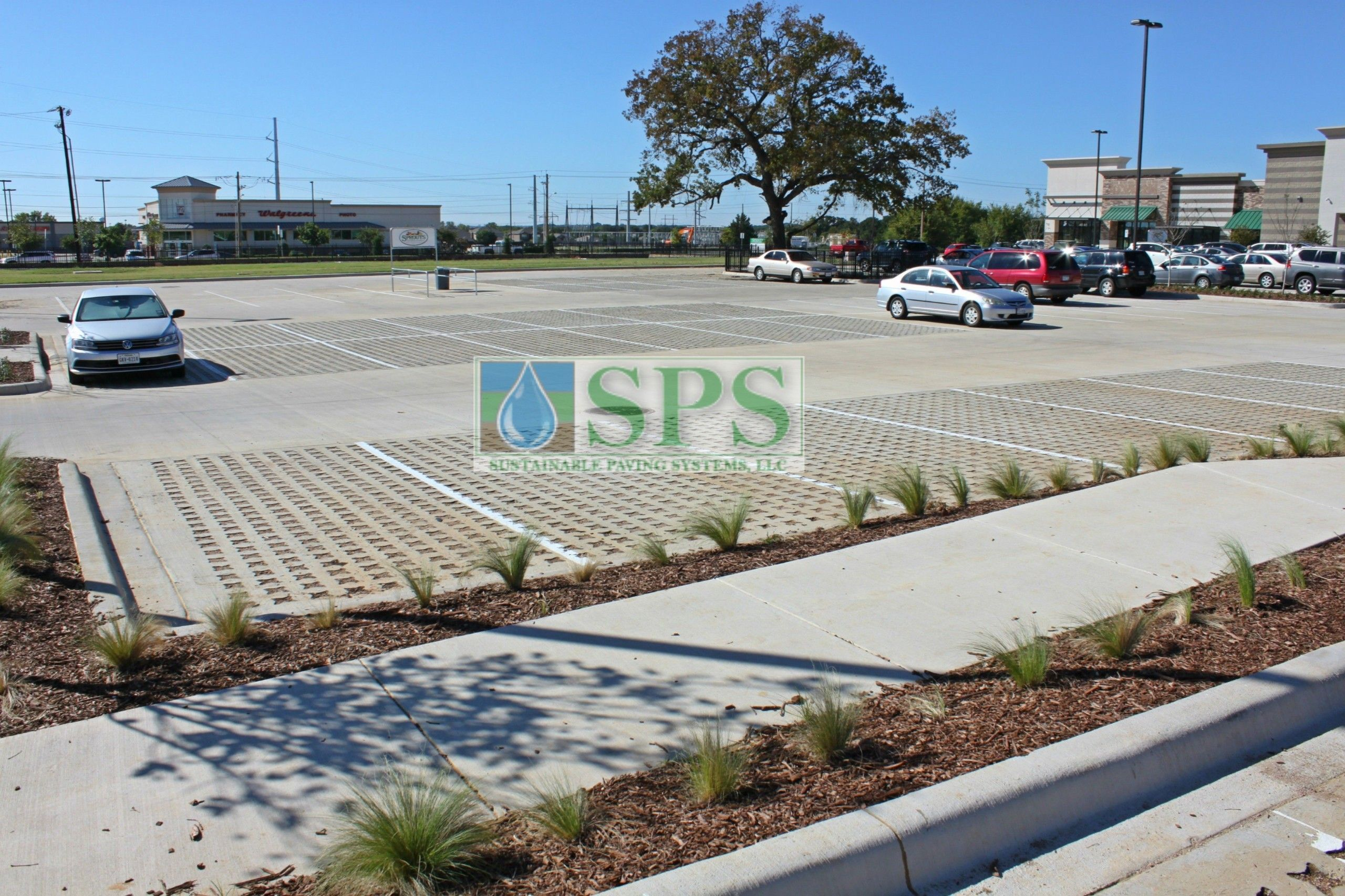 Wide view of parking lots at Sprouts Farmers Market in Denton, TX, using Grasscrete Stone Filled System installed by Texas Bomanite.
