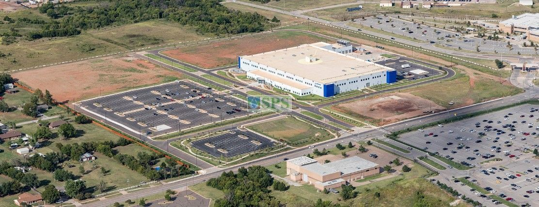 Aerial View of Boeing Company in Oklahoma City, OK, featuring Grasscrete Fully Concealed System installed by Bomanite of Oklahoma.