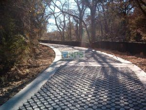 Up the hill on the Grasscrete road to Hamilton Park Pool Reserve in Dripping Springs, TX, which is an emergency vehicle access road installed by Texas Bomanite for Travis County providing Sustainable paving solutions to a destination that could be paradise.