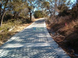 Further up the hill on the Grasscrete road to Hamilton Park Pool Reserve in Dripping Springs, TX, which is an emergency vehicle access road installed by Texas Bomanite for Travis County providing Sustainable paving solutions to a destination that could be paradise.